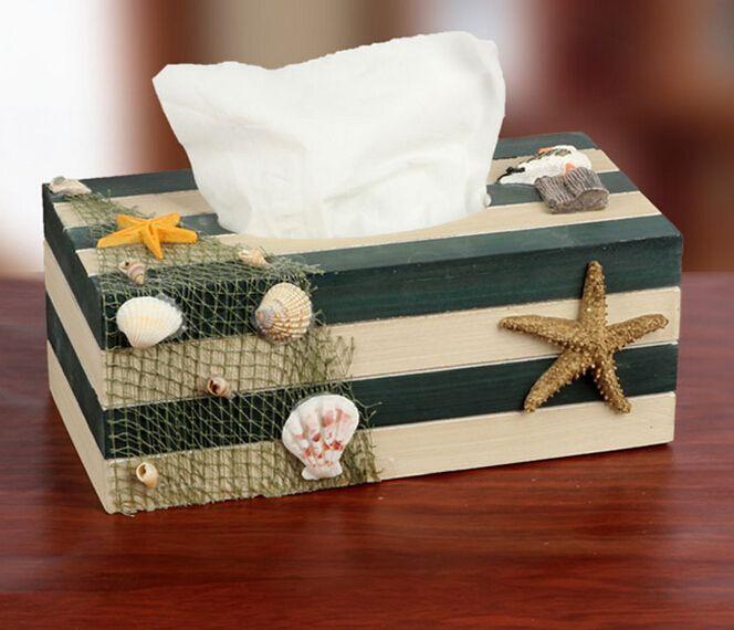 1PC 4 Colors 2016 Mediterranean Style Blue wooden adornment shell tissue box Starfish wooden napkin holder Tissue Boxes J0961