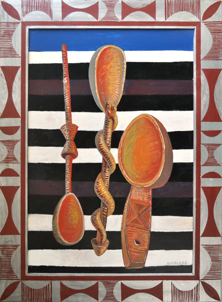 THREE WOODEN SPOONS with painted frame, 1998/9, enamel on board by Nicolaas Maritz