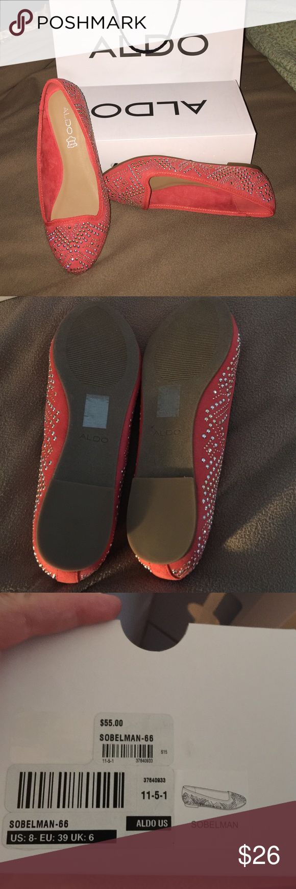 Exquisite silver studded designs on coral flats! Brand-new coral Aldo flats.  Beautiful silver studded designs.  Extra silver beads included with the box, bag, and tags. Aldo Shoes Flats & Loafers