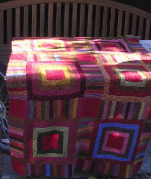 Fun with Colors AfghanRelease your stash with the Fun with Colors Afghan. This knit afghan pattern is a variation on the log cabin pattern, so it's a perfect stash buster project. You can easily resize this pattern by adding additional squares or leaving a couple off. This knitted afghan pattern is a great jumping off point for beginners who want to try out a bigger project. Read more at http://www.allfreeknitting.com/Knit-Afghans-and-Blankets/Fun-with-Colors-Afghan#gJqFsx5ghA7Fgyvu.99