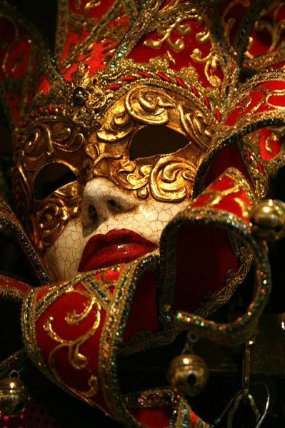 red and gold venetian mask, blooming gorgeous