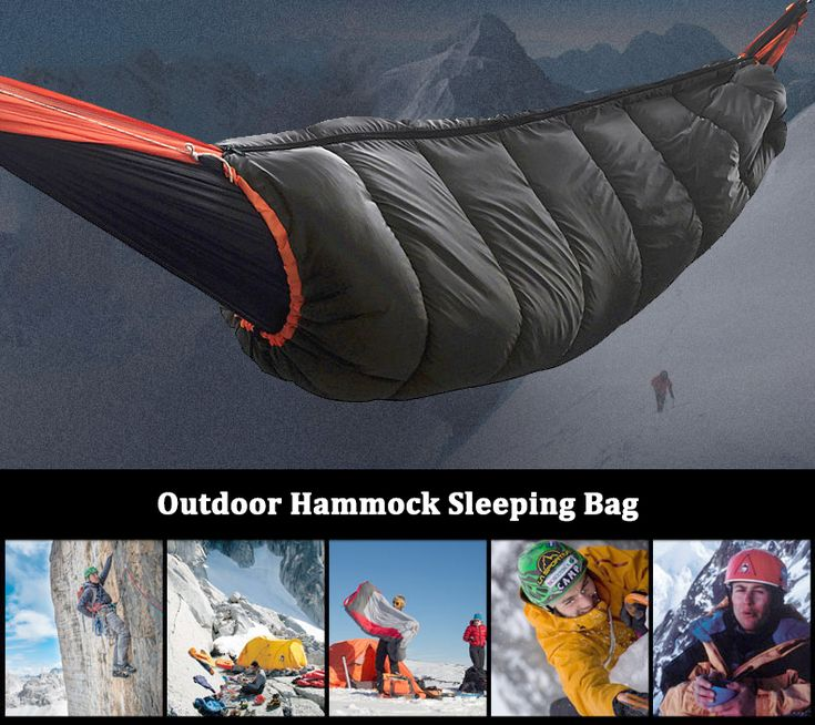 2 In 1 Outdoor Windproof Hammock Sleeping Bag Enveloped Cotton Warm Hanging Swing Bed
