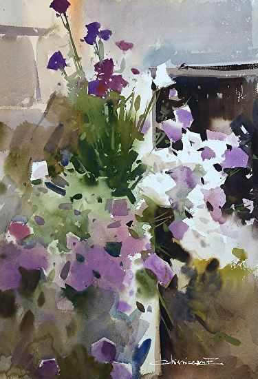 Flowers by Eugen Chisnicean Watercolor ~