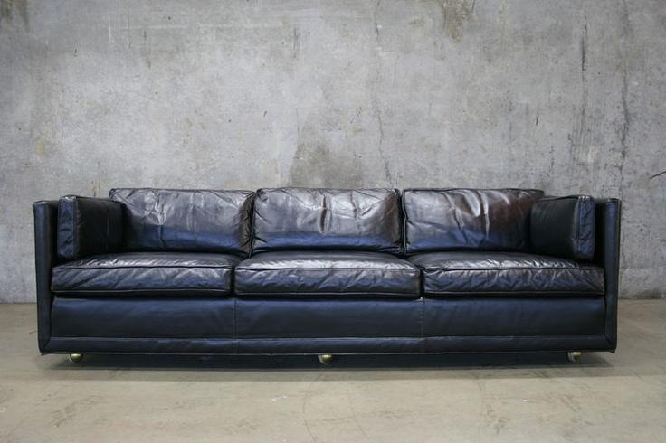 Black vintage leather tuxedo sofa. #office #sofa