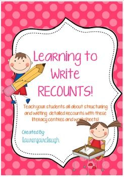 Teach your students all about writing detailed, interesting and well structured recounts with these literacy centres and worksheets.Included are three bright and engaging literacy centres where students will learn to create recounts, practice ordering information and select key information to retell events while developing both their written and oral language skills.