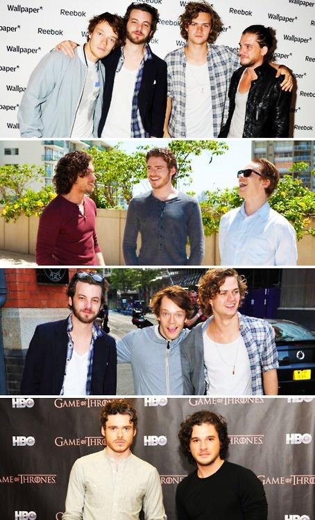 The boys of Game of Thrones. Alfie Allen, Gethin Anthony, Finn Jones, Kit Harrington, Richard Madden.
