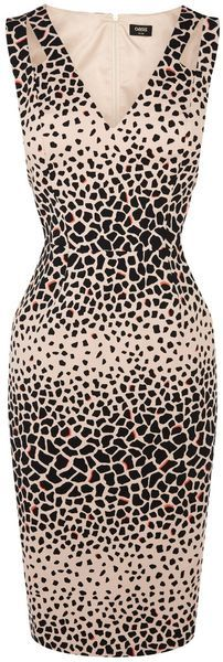 Oasis Brown Animal Print Pencil Dress | #lyst.com