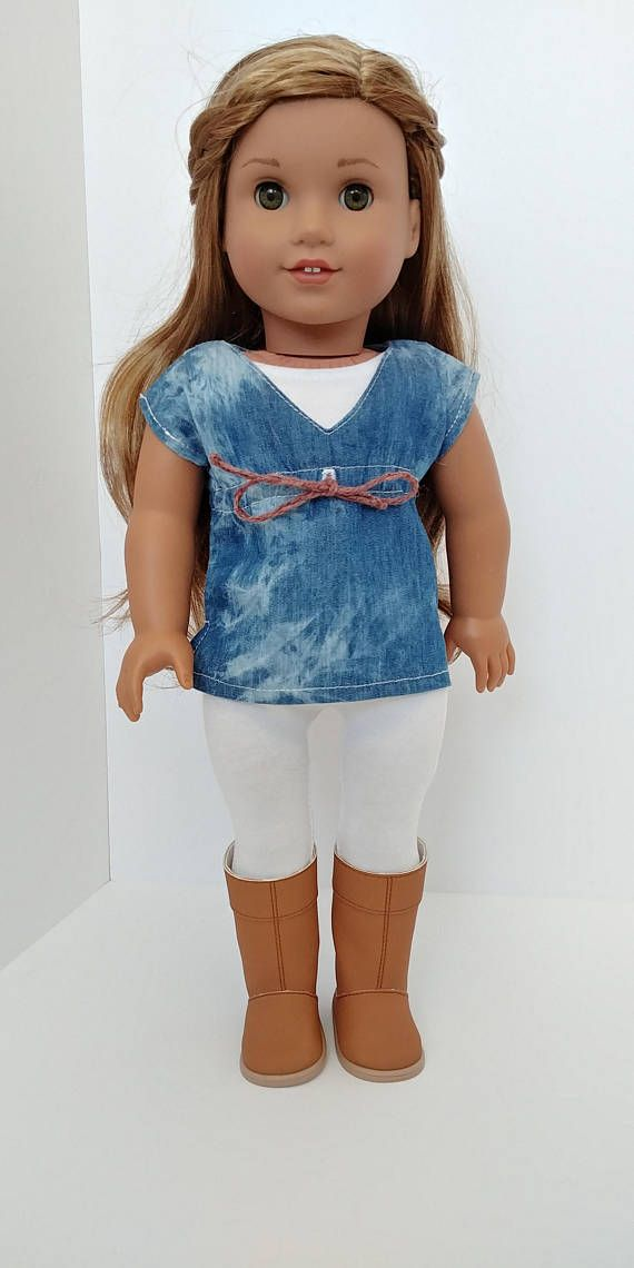 2 Piece Beautiful Denim Tunic and White Unitard. Tunic has natural empire waist with braided rope to gather the waist. Velcro closure. White unitard would be great for other outfits as well. Velcro closure. All seams are professionally finished. Used Stacy and Stella pattern. Boots