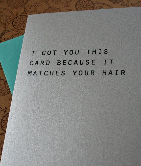 """I got you this card because it matches your hair"" on Etsy"