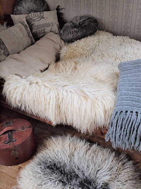 Bedroom: day bed with sheepskin throws [ SpecialtyDoors.com ] #bedroom #hardware #slidingdoor