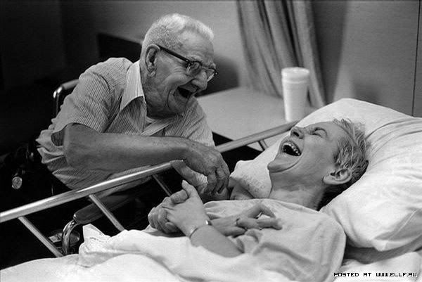 This makes me smile.  I want this to be me and Chris one day... well, minus the hospital bed hopefully!