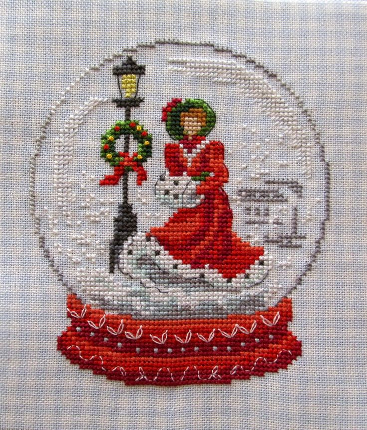 cross stitch snow globe Christmas ornament