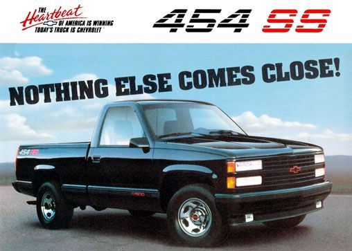 """The 1990 Chevy 454SS. A truck that could have only sold like it did in the early 90's, when gas was uber cheap.  99% of the population who buys trucks, do so to haul stuff. This truck, was for """"the 1%"""". It had a standard cab, with a center console, a 454 cubic inch V8 that got 10 miles per gallon"""