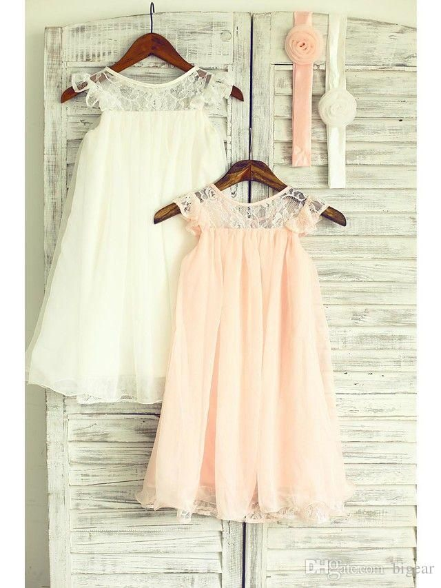 Illusion Jewel Neckline Tea Length Summer Flower Girl Dress With Head Band Spring Dresses For Girls Toddler Girls Dress Shoes From Bigear, $25.13| Dhgate.Com