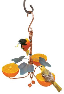 Get some wire and bend away... Or buy this one - Copper Oriole Triple Fruit Feeder with Ivy farmhouse-bird-feeders