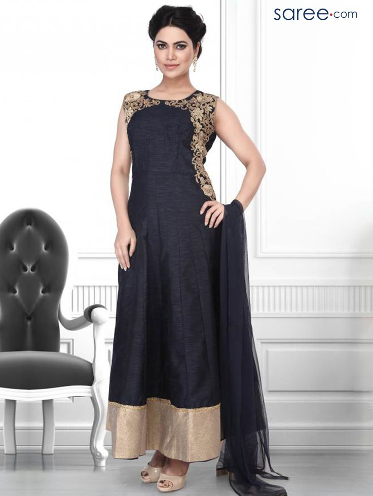 BLACK ART SILK SUIT WITH EMBROIDERY WORK