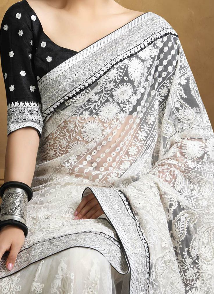 White embroidered saree