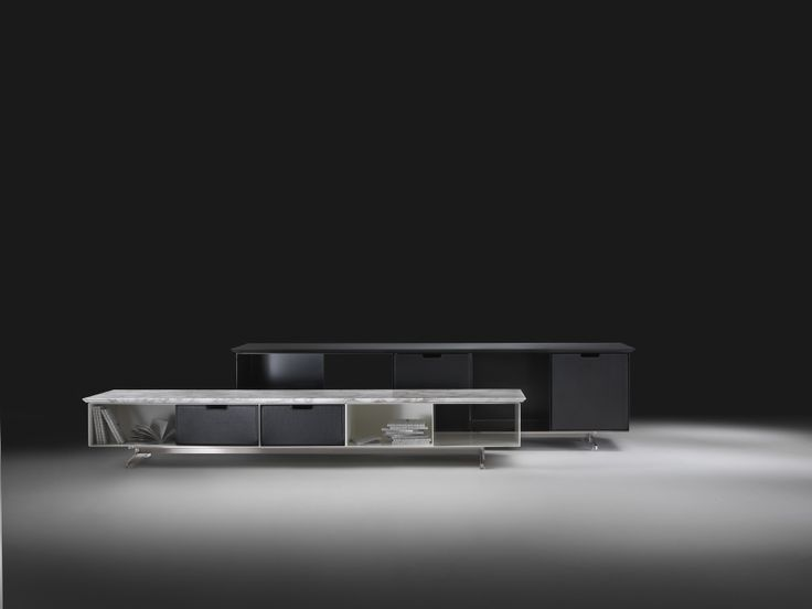FLEXFORM FLY cabinet with frame in metal, top in marble and box in leather. Designed by ANTONIO CITTERIO.