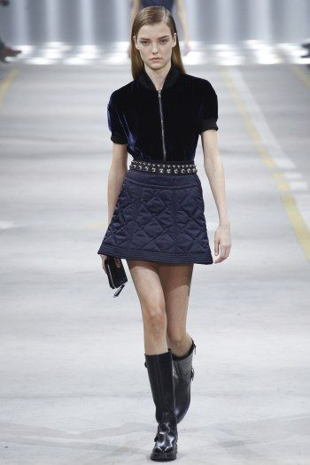 MFW Fall 16 RTW | Diesel Black Gold's street style collection | Blue quilt mini skirt and velvet top | The Luxe Lookbook