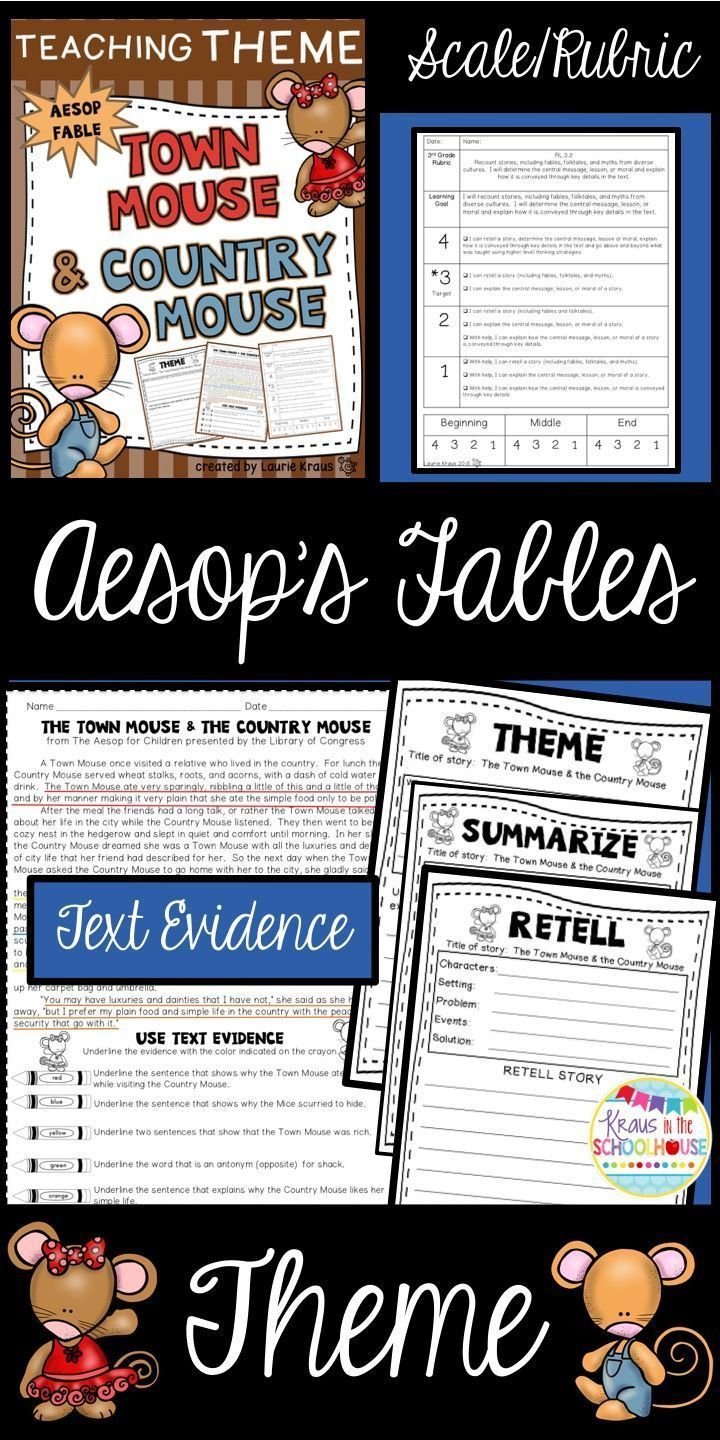 Students will identify the theme, moral, lesson, and central message of a story. Students will use text evidence, identify the theme, understand vocabulary, identify story elements, retell and summarize. Aesop's fables are a wonderful way to teach these important skills. The Town Mouse & the Country Mouse is a perfect fable with a wonderful theme.