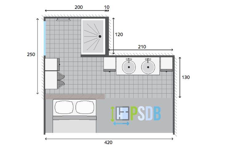 Exemple plan de salle de bain de 8m2 | Plans pour grandes ...