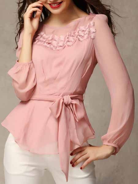 European Style  Chiffon  Shirt With Belt Long sleeve T-shirts from fashionmia.com