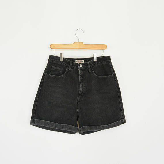 51eb76db8e60 Guess Denim Shorts Black Guess Jean Shorts Cuffed 90's Era High ...