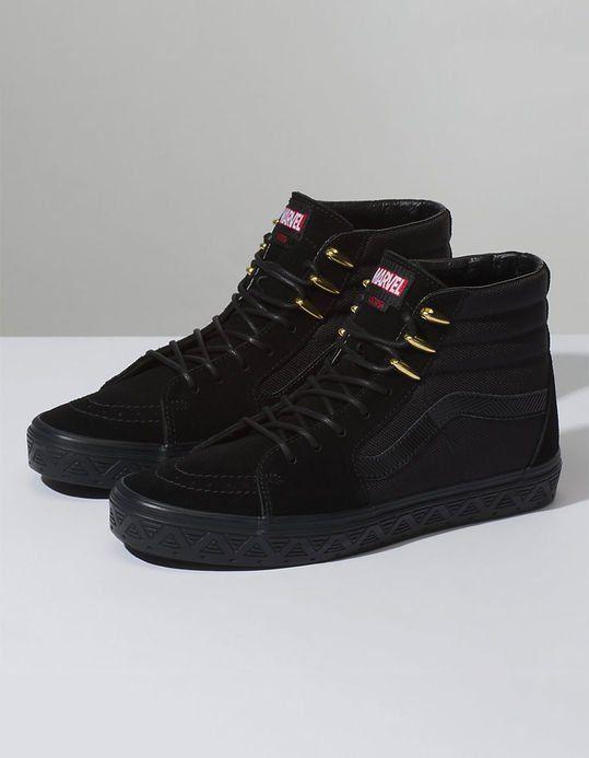 36f2ce3d37 VANS x Marvel Black Panther Sk8-Hi Shoes WANT😱😱 | shoes in 2019 ...