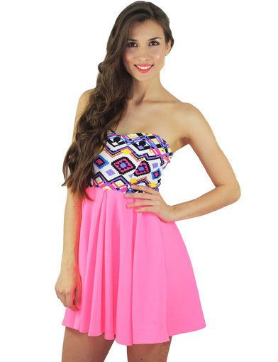 Neon Pink Aztec Short Dress