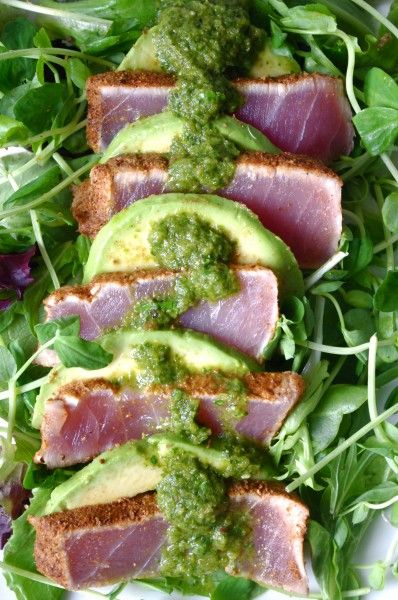 Chili Crusted Ahi Tuna & Avocado Salad with Cilantro Garlic Dressing