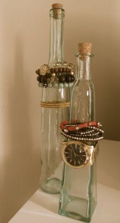 Bottle Jewelry Organizing-maybe make the bottles look like sea glass? I like it!