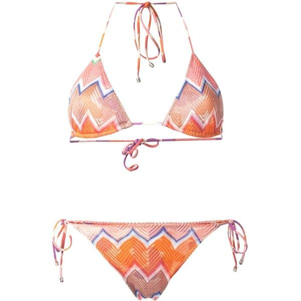 Missoni Zigzag Pattern Triangle Bikini (1.135 BRL) ❤ liked on Polyvore featuring swimwear, bikinis, multicolour, triangle swim wear, triangular swimwear, bikini swimwear, multicolor bikini and triangle bikini