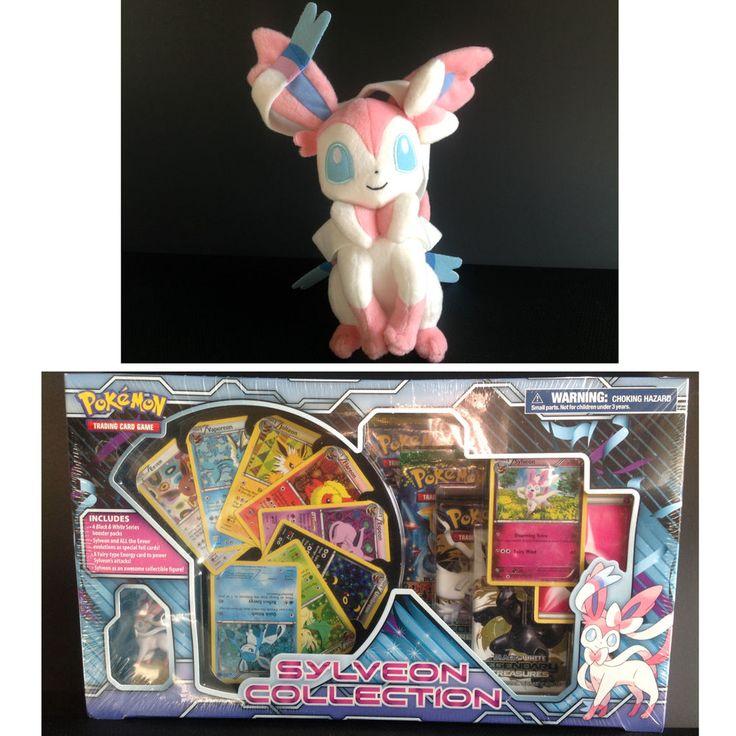 "New Sealed: The Pokemon TCG Sylveon Collection (All Eevee Evolutions)+ 10"" PLUSH #Pokemon"