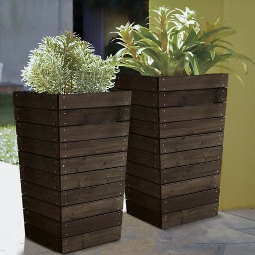 Coral Coast Dark Brown Stained Planter - 16 x 16 x 27.5 in. - Planters at Hayneedle