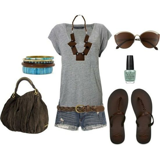 A perfect summer outfit it has a gray top w/ jean shorts with brown sandals with sunglasses and a beautiful fringe purse And a necklace