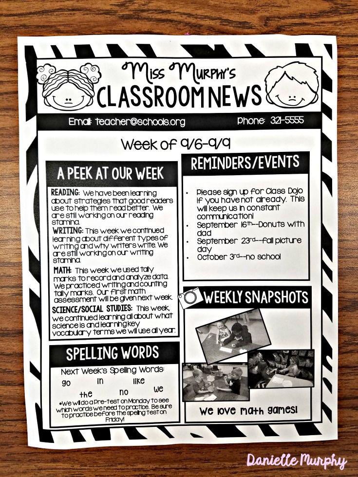 fully editable classroom newsletter template