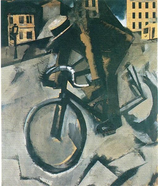 The Cyclist, 1916 by Mario Sironi. Futurism. figurative. Private Collection