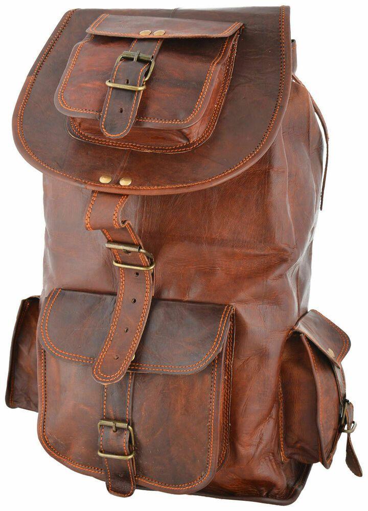 Vintage Men/'s Leather Backpack Bags Shoulder Briefcase Rucksack Brown Laptop Bag
