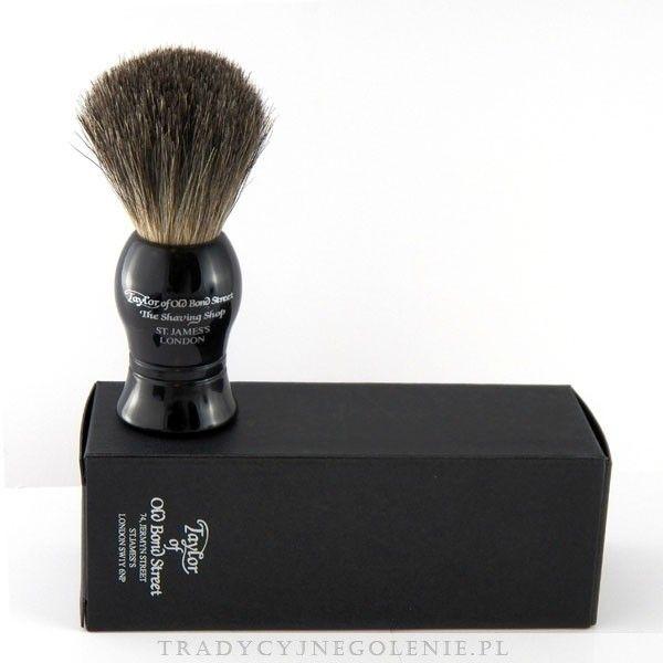 Wysokiej jakości ręcznie robiony pędzel St James do golenia manufaktury Taylor of Old Bond Street z włosia borsuka, 100% borsuk. Wysokość pędzla 9,5cm. Elegancka czarna rączka.