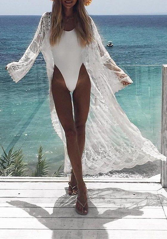 b9989ca035 White Lace Grenadine Beachwear Beach Look Kimono Cover Up long Gauze  Cardigan