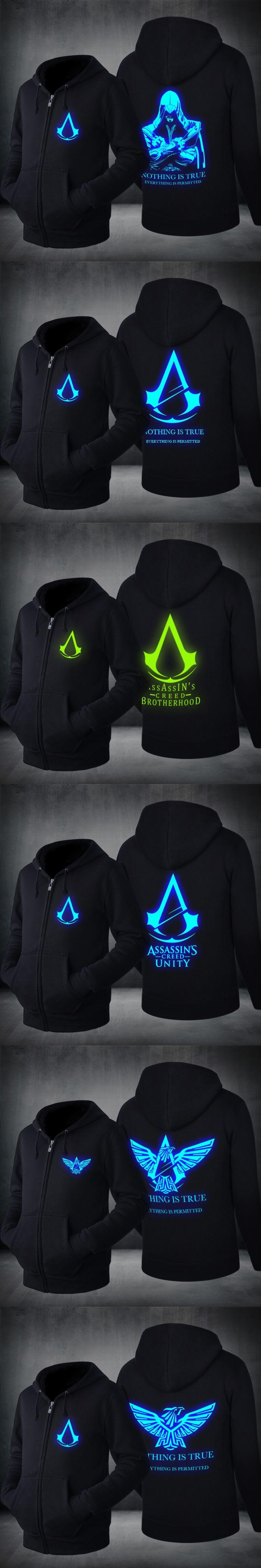 2017 Novelty Hoodies mens fashion sweatshirts assassins creed hoodie luminous pattern Luminous Hoodies Spring&Autumn US EU Size