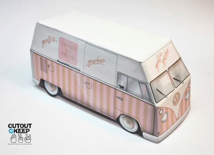 Build Your Own Paper Craft Model Of Pollyu0027s Parlour Vintage VW. Click Image  For More · Ice Cream ...