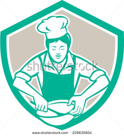 Illustration of a female chef with hat holding spatula and mixing bowl mixing viewed from the front set inside shield crest on isolated background done in retro style.  - stock vector #mother #retro #illustration
