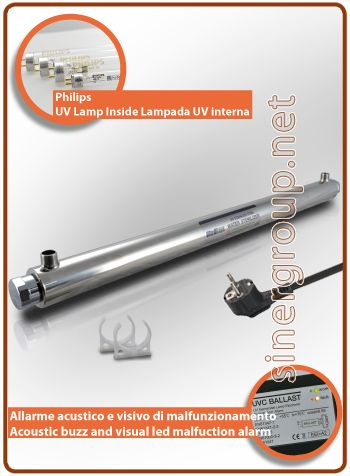 """UltraRays UV Complete system 30W. 3/4"""" M.  AISI 304 stainless steel body, the system is inclusive of clips for the fixing. * Max pressure: 10 bar (145 psi) * Ultraviolet radiation: 30.000 W/cm2 * Flow rate filtered water: 25 LT/MIN. (6,6 GPM) * Flow rate osmotized water: 30,33 LT/MIN. (8 GPM) * Power supply: 220-240V 50/60Hz 0,14A * Rating power: 40W. * Philips average lamp life: 9.000h. - max. 1 year * Dimensions (mm.): L. 962 x Ø 64"""