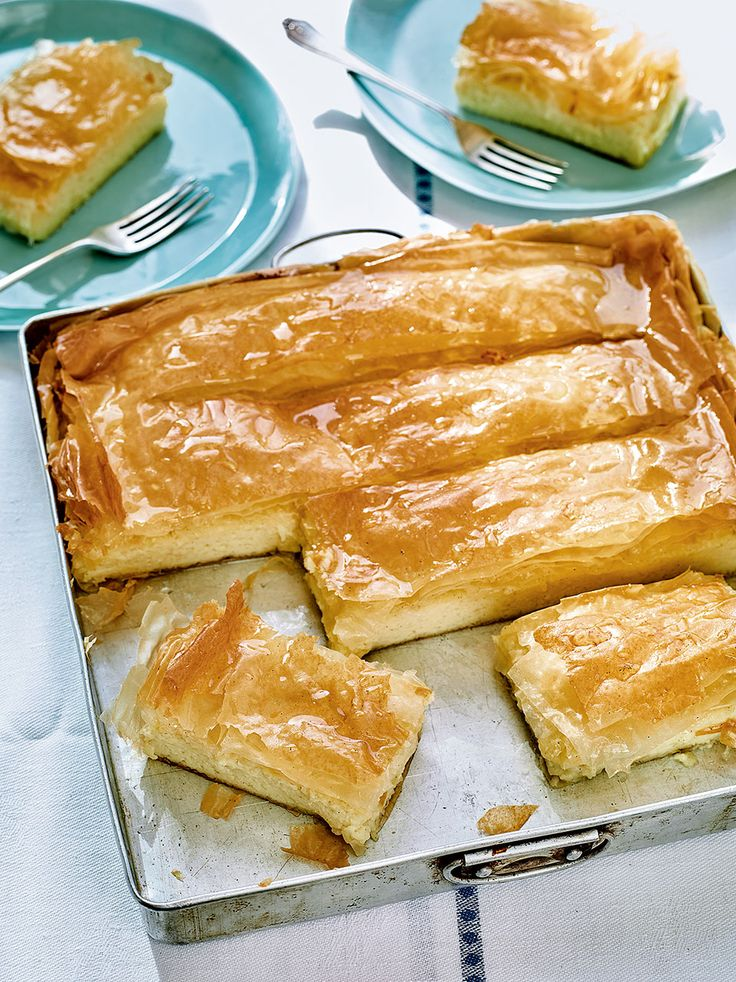 In Greece this gorgeous tart is more commonly known as galaktoboureko – layers of filo pastry enclosing a thick custard, then soaked with a lemon-s