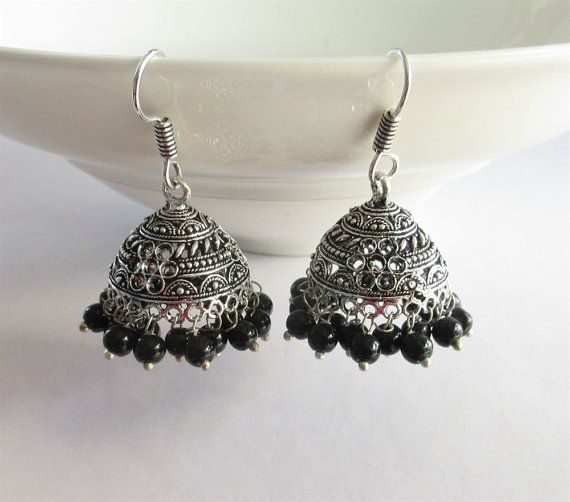 Silver Black Beads Antique Jhumka/Indian by Beauteshoppe on Etsy