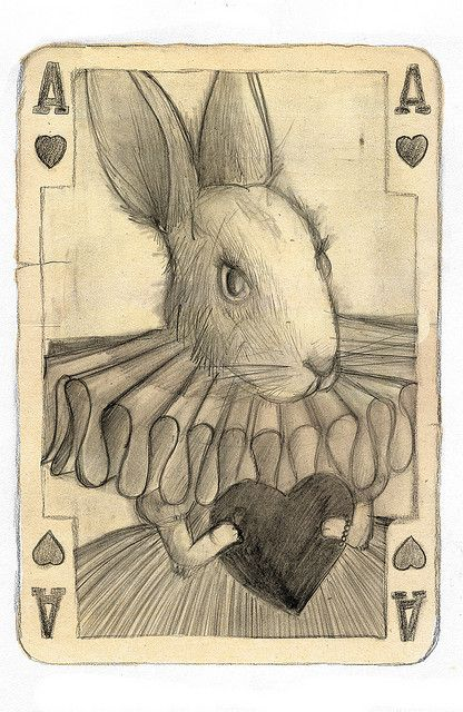 An ace of hearts designed with a rabbit on the front I think giving it an Alice in wonderland effect