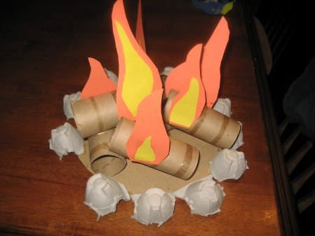 """Toilet paper tube fire pit - wish I had this for """"A Camping We Will Go"""" co-op class"""