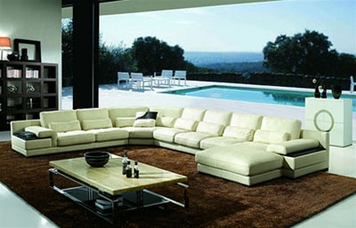 Jacobson Living Room Leather Sectional