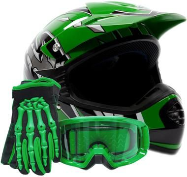 Enjoy motocross or off-roading safely with youth motocross gear from Typhoon Helmets. Combo includes a green youth helmet, gloves and goggles.